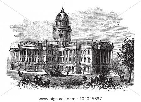 Topeka, Capitol of the state of kansas or Kansas Statehouse, vintage engraved illustration. The Kansas State Capitol during late 1800s. Trousset encyclopedia (1886 - 1891).