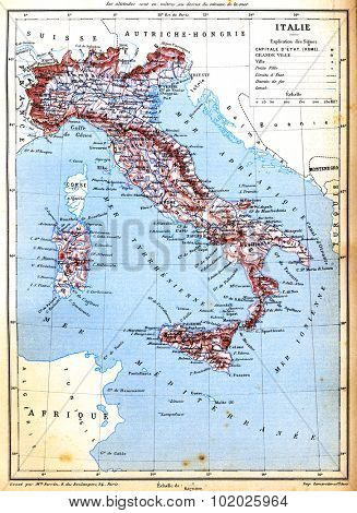 An old vintage map of Italy with explanation of signs on map from the late 1800s,  Trousset encyclopedia (1886 - 1891).