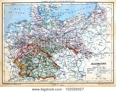 The map of Germany with signs and their explanation from the late 1800s,  Trousset encyclopedia (1886 - 1891).