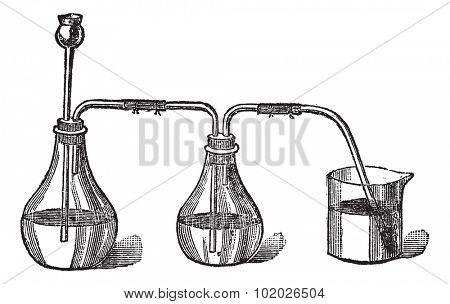 Sulfhydryl acid apparels, vintage engraved illustration. Trousset encyclopedia (1886 - 1891). poster