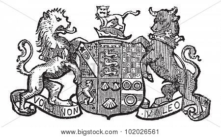 Volo Non Valeo a family motto assigned by King Charles II, vintage engraved illustration. Trousset encyclopedia (1886 - 1891). poster