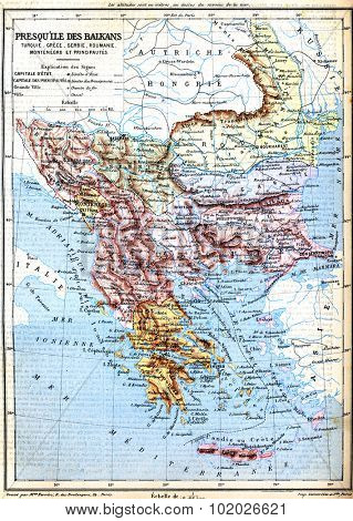 The map of Balkan Peninsula (Turkey, Greece, Serbia, Romania and Montenegro) with signs and their explanation. Old vintage map from the late 19th century, Trousset encyclopedia (1886 - 1891).