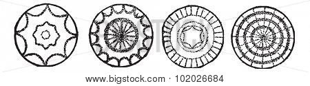 Chladni plates, vintage engraving. Old engraved illustration of Chladni plates isolated on a white background. Magasin Pittoresque 1874