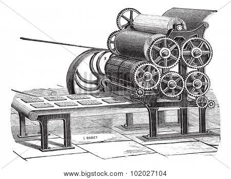 Old engraved illustration of biscuit (Hardtack) making machine isolated on a white background. Industrial encyclopedia E.-O. Lami - 1875.