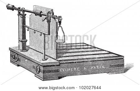 Old engraved illustration of Steelyard balance or steelyard isolated on a white background. Industrial encyclopedia E.-O. Lami - 1875.