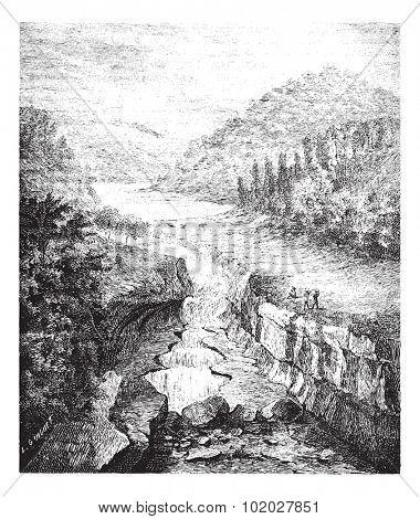 Old engraved illustration of Perte-du-Rhone in Bellegarde-sur-Valserine France. Industrial encyclopedia E.-O. Lami - 1875.