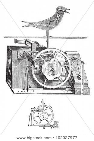 Old engraved illustration of cuckoo clock with its inner parts isolated on a white background. Industrial encyclopedia E.-O. Lami - 1875.