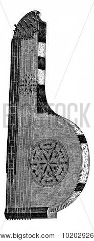 The zither, seventeenth century, vintage engraved illustration. Magasin Pittoresque 1875