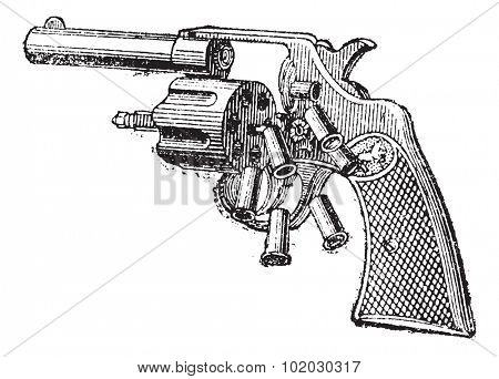 Colt Revolver, vintage engraved illustration. Dictionary of words and things - Larive and Fleury - 1895.