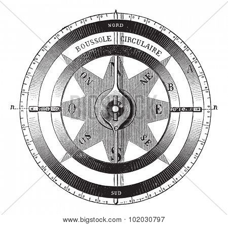 Old engraved illustration of mariner?s compass isolated on a white background. Industrial encyclopedia E.-O. Lami - 1875.