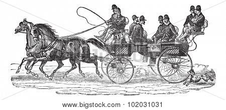 Old engraved illustration of Shooting-brake on horses with six people sitting on the cart. Industrial encyclopedia E.-O. Lami - 1875. poster