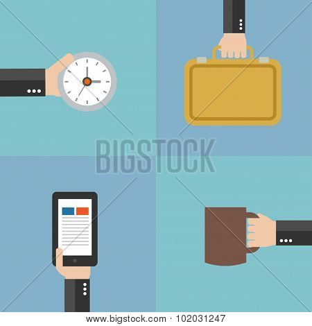 Modern Business Flat set background with hand