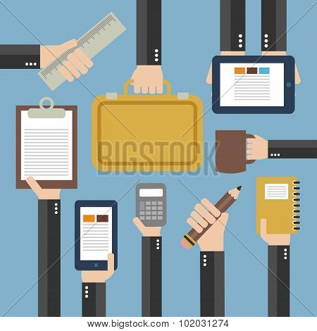 Business Flat background with hand