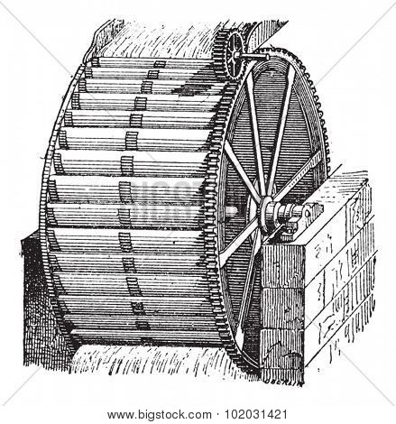Waterwheel bucket, vintage engraved illustration. Dictionary of words and things - Larive and Fleury - 1895.