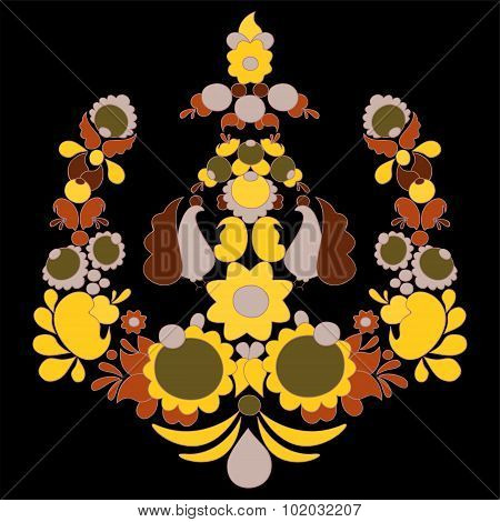 Traditional Russian Pattern. Different Leaves And Flower. Slavs Design. Vector