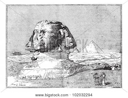 Sphinx, near the ruins of Memphis, Egypt, vintage engraved illustration. Dictionary of words and things - Larive and Fleury - 1895.