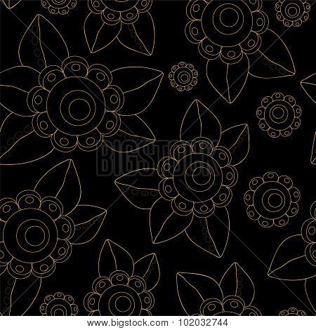 Vector Seamless Russian Flower Pattern. Slavs Design
