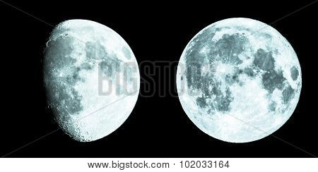 Gibbous And Full Moon