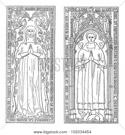 Tombstones, currently in the chancel of church of Saint-gervals, vintage engraved illustration. Dictionary of words and things - Larive and Fleury - 1895.
