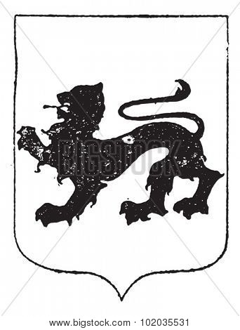 Walking Lion in Coat of Arms, vintage engraved illustration. Dictionary of Words and Things - Larive and Fleury - 1895