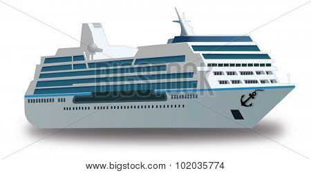 Cruise Ship, vector Color Illustration, isolated on a white background