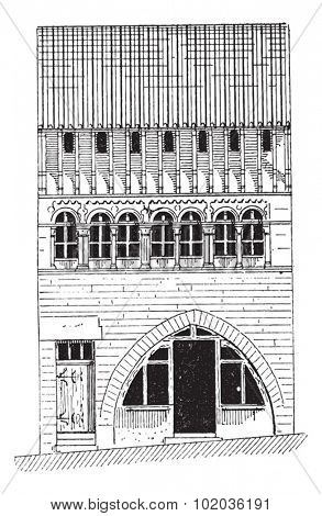 Roman House in Saone-et-Loire in Bourgogne, France, during the 12th Century, vintage engraved illustration. Dictionary of Words and Things - Larive and Fleury - 1895