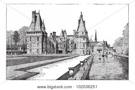 Maintenon Castle in Centre, France, during the 15th Century, vintage engraved illustration. Dictionary of Words and Things - Larive and Fleury - 1895