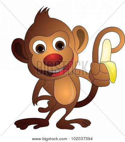 Monkey, Brown, Holding a Banana, vector illustration