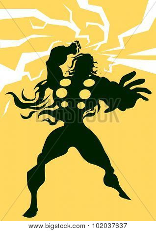 Thor, Black Silhouette of a Man, with Lightning Bolts, Yellow Background, vector illustration