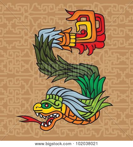 Mayan dragon symbol, vector illustration
