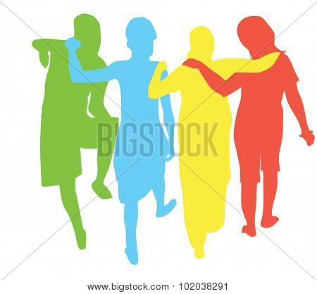 People, group of 4 women with arms around each other walking away, vector illustration