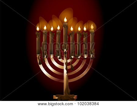 Menorah, a nine-branched candelabrum with lighted candles, vector illustration