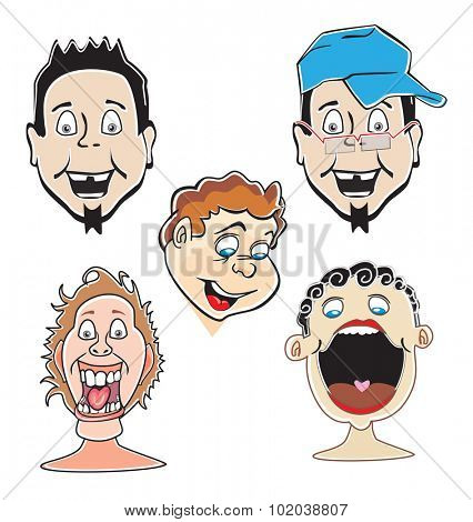 Laughing guys, 5 faces, vector illustration