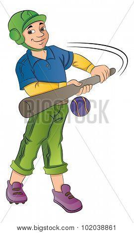 Young Baseball Player Hitting a Ball, vector illustration