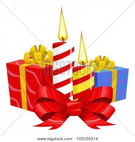 Christmas Candles with Presents, vector illustration