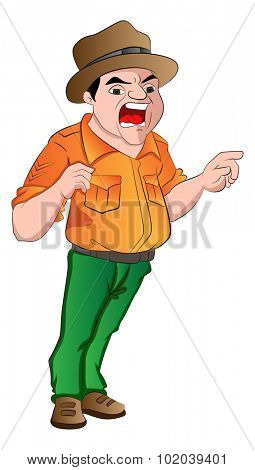 Angry Sergeant Shouting Orders, vector illustration