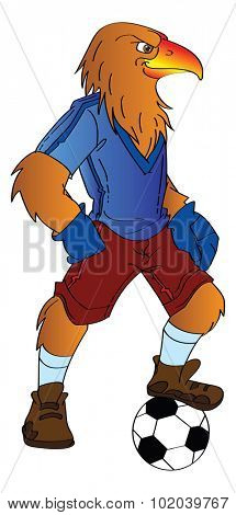 Humanoid Eagle Playing Soccer, vector illustration