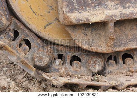 Close up track wheel of excavator