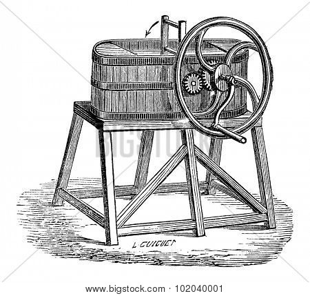 Rowan Butter Churn, vintage engraved illustration. Industrial Encyclopedia - E.O. Lami - 1875
