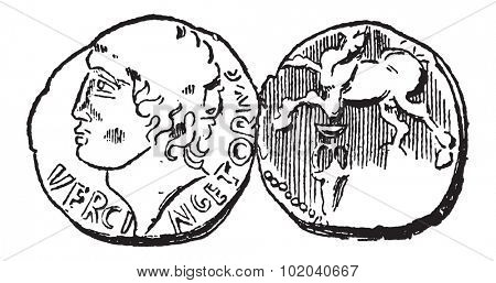 Ancient Celtic Gold Coin, showing Head of King Vercingetorix (front) and Horse (back), vintage engraved illustration. Dictionary of Words and Things - Larive and Fleury - 1895