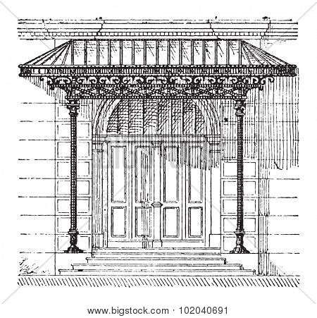 Canopy, showing a glass canopy protecting a door, vintage engraved illustration. Dictionary of Words and Things - Larive and Fleury - 1895