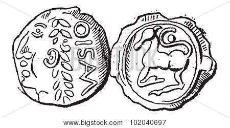 Ancient Celtic Gold Coin of Santones, showing Head (front) and Horse (back), vintage engraved illustration. Dictionary of Words and Things - Larive and Fleury - 1895