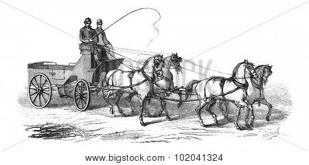4-wheeled Wagon drawn by 4 Horses, vintage engraved illustration. Le Magasin Pittoresque - 1874