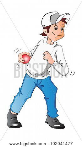 Boy Pitching a Baseball, vector illustration