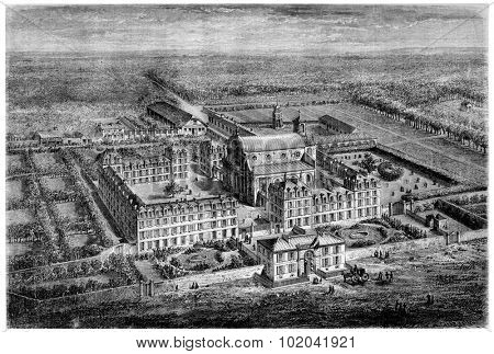 Chateau de Saint-Germain-en-Laye in Yvelines, France, vintage engraved illustration. Le Magasin Pittoresque - 1874