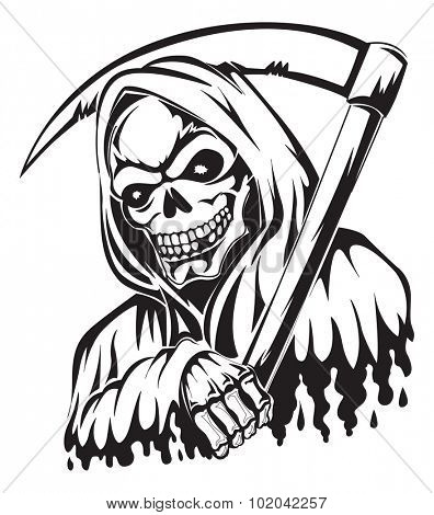 Tattoo design of a grim reaper holding a scythe, vintage engraved illustration.