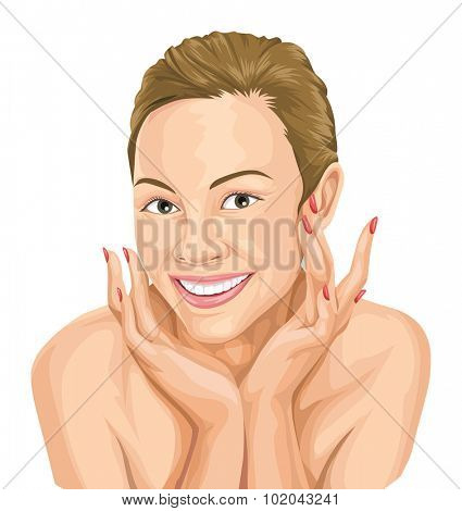Vector illustration of happy young woman touching her face, beauty care concept.