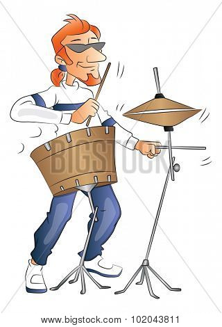 Vector illustration of rockstar playing a drumset.