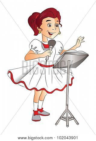 Vector of happy girl singing on mike at lectern.