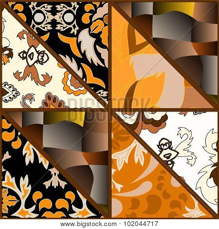 Seamless Patchwork Pattern With Flowers. Russian Desing - Stock Vector